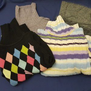 Lot of 4 Womens cowl turtleneck sweaters M & L
